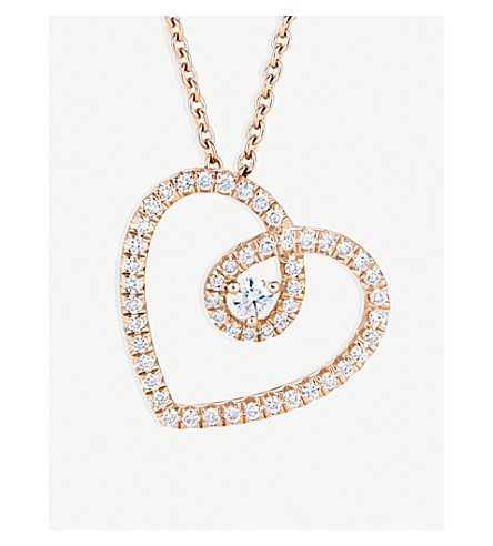 DE BEERS Heart pink-gold and diamond pendant