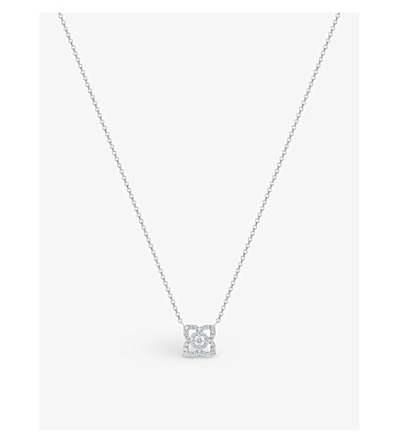 DE BEERS Enchanted Lotus 18ct white-gold and diamond pendant
