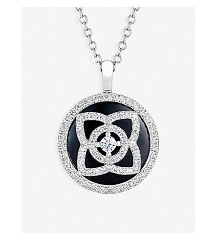 DE BEERS 魔法莲花18ct 白金, 钻石和电气石可逆吊坠