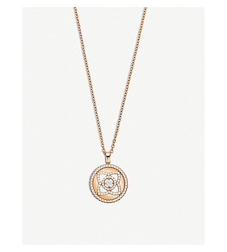 DE BEERS Enchanted Lotus 18ct pink-gold and diamond reversible pendant