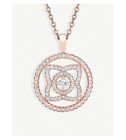DE BEERS Enchanted Lotus 18ct pink-gold and diamond pendant