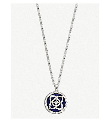DE BEERS Enchanted Lotus 18ct white-gold, diamond and lapis lazuli reversible pendant