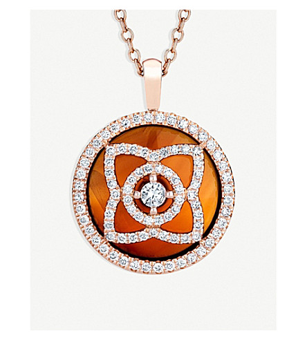 DE BEERS Enchanted Lotus 18ct pink-gold, diamond and carnelian reversible pendant