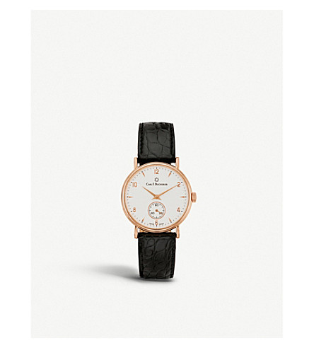 CARL F BUCHERER 00.10305.03.26.01 Adamavi rose-gold sapphire crystal and leather watch