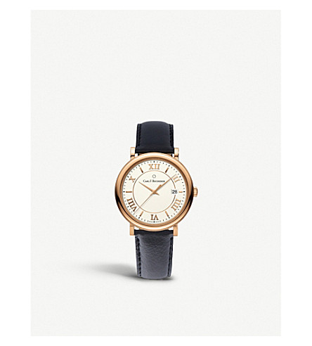 CARL F BUCHERER 00.10311.03.15.01 Adamavi rose-gold sapphire crystal and leather watch