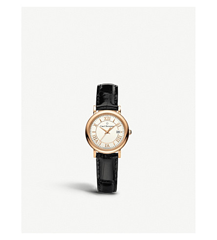 CARL F BUCHERER 00.10312.03.15.01 Adamavi rose-gold sapphire crystal and leather watch