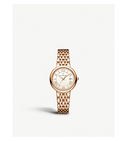 CARL F BUCHERER 00.10312.03.15.21 Adamavi rose-gold sapphire crystal bracelet watch