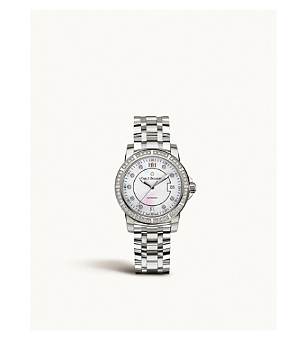 CARL F BUCHERER Steel and diamond watch