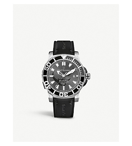 CARL F BUCHERER 00.10632.23.33.98 Patravi Scubatec stainless steel black and rubber watch