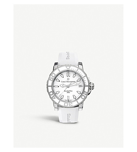 CARL F BUCHERER 00.10634.23.23.01 Patravi Scubatec stainless steel white and rubber watch