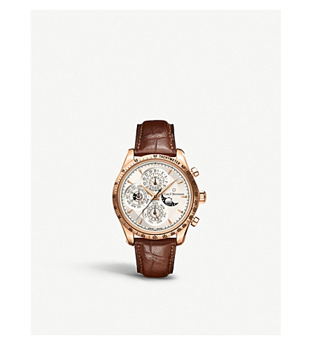 CARL F BUCHERER Rose gold leather strap watch