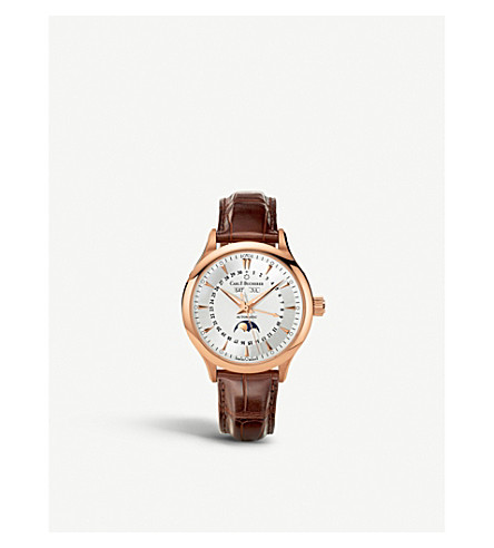 CARL F BUCHERER 00.10909.03.13.01 rose-gold slim leather strap watch