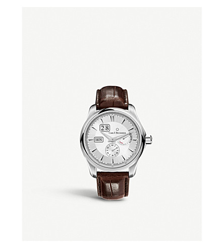 CARL F BUCHERER 00.10912.08.13.01 Alligator-embossed leather and stainless steel watch