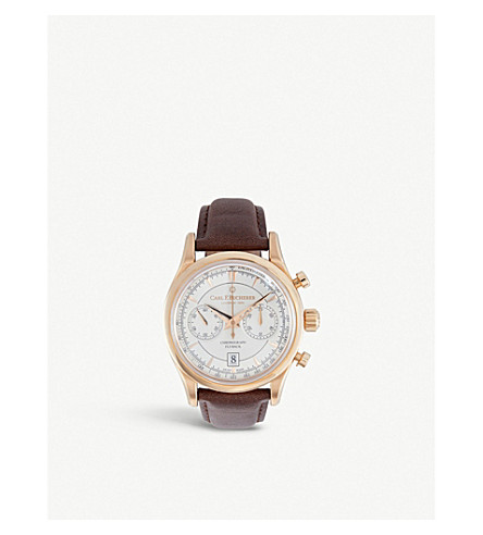 CARL F BUCHERER 00.10919.03.13.01 Manero Flyback 18ct rose gold and alligator leather watch