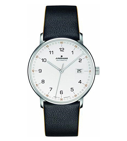 JUNGHANS Form leather and stainless steel watch