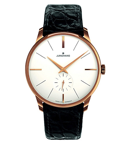 JUNGHANS 027/5202.00 Meister PVD gold-plated and leather watch