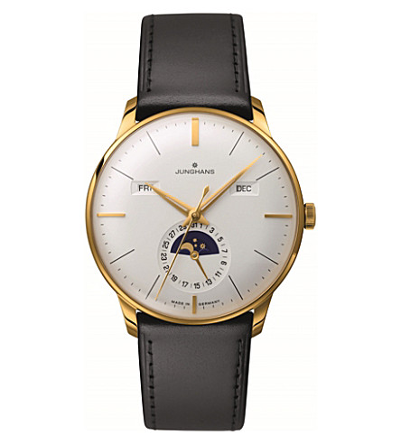 JUNGHANS 027/7202.01 Meister Kalendar leather and gold-plated moon phase watch