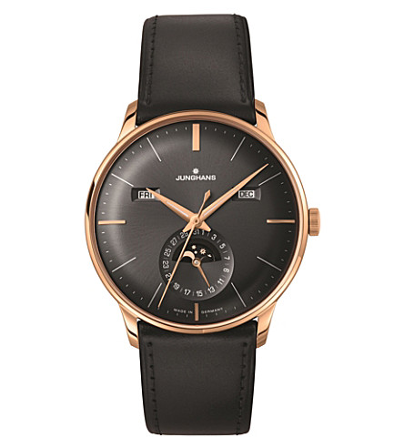 JUNGHANS 027/7504.01 Meister Kalendar leather and gold-plated moon phase watch