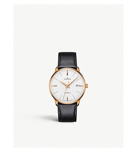 JUNGHANS 027/7812.00 Meister Classic rose gold-plated and leather strap watch