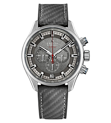 ZENITH 03.2282.400/91.R578 El 食运动不锈钢和橡胶手表
