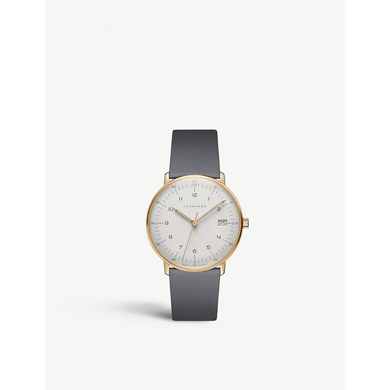 JUNGHANS 047/7854.00 Max Bill Damen stainless steel and leather watch