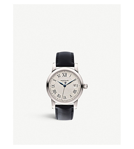 MONTBLANC 107114 Star stainless steel and leather watch