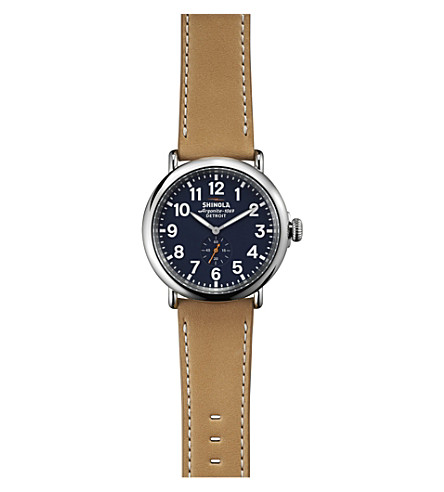 SHINOLA 11000141 Runwell stainless steel and leather watch (Blue