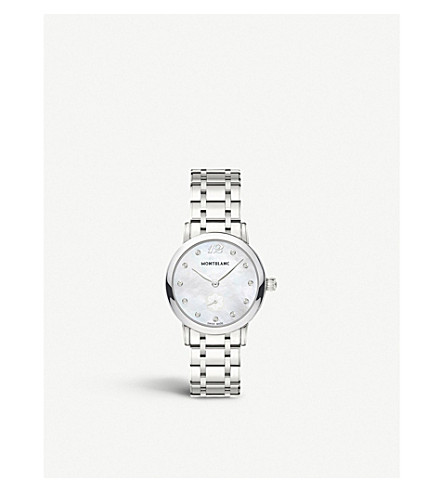 MONTBLANC 110305 Star Classique unisex stainless steel, mother-of-pearl and diamond watch