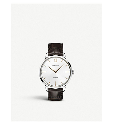 MONTBLANC 110695 Meisterstück Heritage stainless steel and leather watch