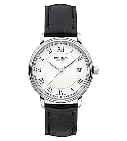 MONTBLANC 112611 Tradition stainless steel and leather watch (White