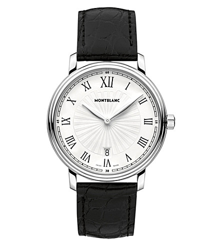 MONTBLANC 112633 Tradition stainless steel and leather watch (White