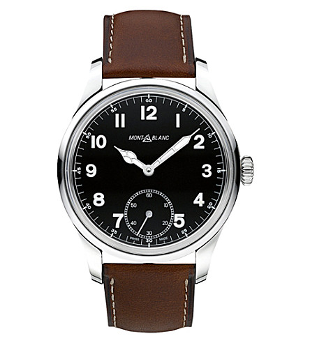 MONTBLANC 112638 Collection 1858 leather and stainless steel watch (Black