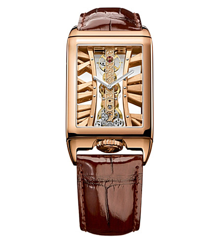 CORUM 113.050.55/0F02 MX55R Golden Bridges 18ct rose-gold and alligator leather watch