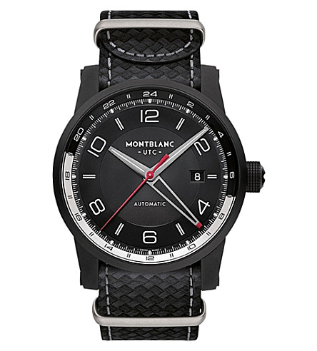 MONTBLANC 113828 Timewalker Urban Speed E-strap leather and stainless steel watch (Black
