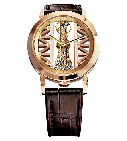 CORUM GG55R Golden Bridge 18ct gold and leather watch