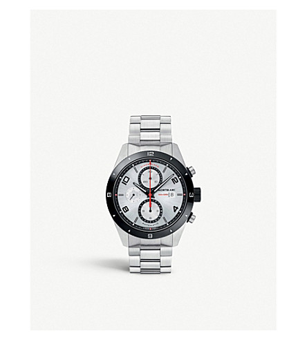 MONTBLANC 116099 TimeWalker 不锈钢和皮革计时腕表