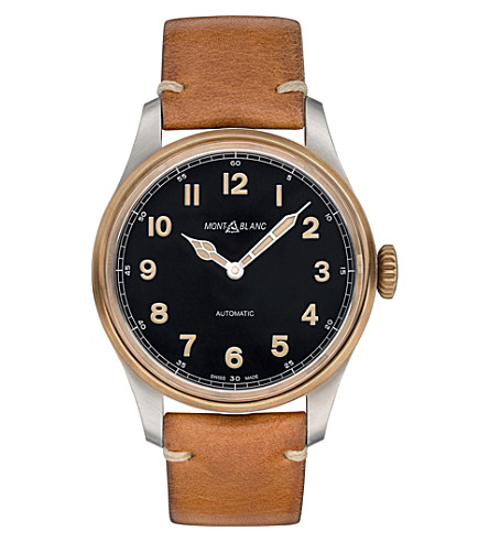 MONTBLANC 116241 stainless steel, bronze and leather watch