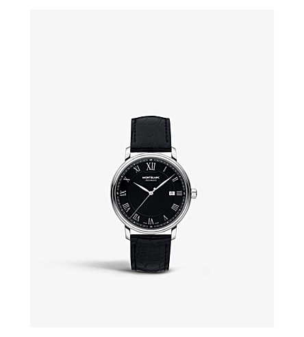 MONTBLANC 116482 Tradition stainless steel and leather watch