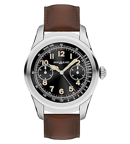 MONTBLANC 117535 Summit titanium and leather Smartwatch