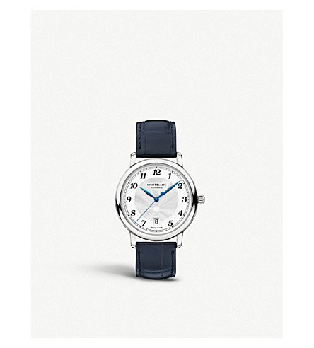 MONTBLANC Star Legacy Automatic Date stainless steel and leather watch