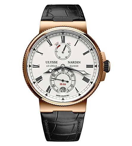 ULYSSE NARDIN 1186-126/E0 18ct rose gold and leather Marine Chronometer watch