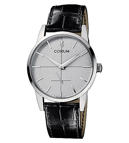 CORUM Heritage 1957 stainless steel and alligator watch