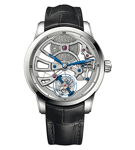 ULYSSE NARDIN Classic skeleton tourbillon 18 carat white-gold and alligator watch