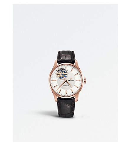 ZENITH 18.2190.4041/01.C498 El Primero rose-gold and leather watch