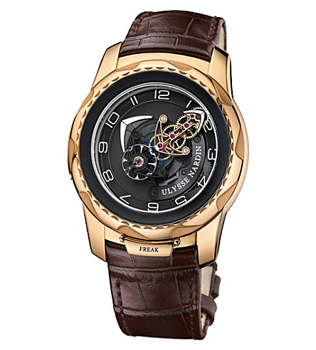 ULYSSE NARDIN Freak cruiser 18 carat rose-gold and alligator watch