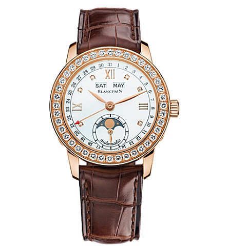 BLANCPAIN 2360-2991A-55A Leman Moonphase 18ct rose-gold, mother-of-pearl and diamond watch