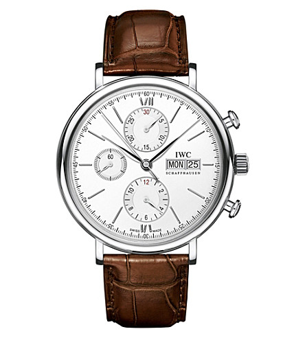 IWC Portofino Chronograph alligator leather watch