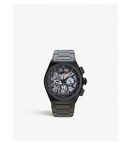 ZENITH 24.9000.9004/78.R582 Defy El Primero aluminium and alligator leather strap chronograph watch