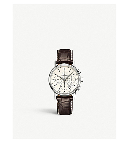 LONGINES L27334722 Heritage stainless steel and leather strap chronograph watch
