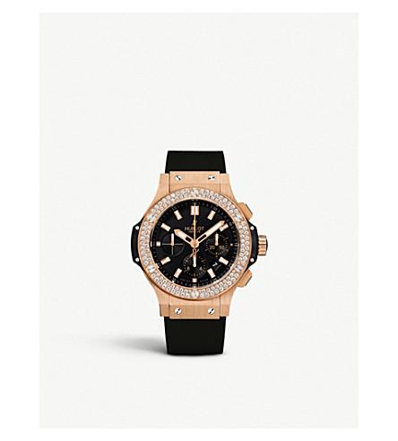 HUBLOT Big Bang rose gold, diamond and kevlar chronograph watch (Rose+gold